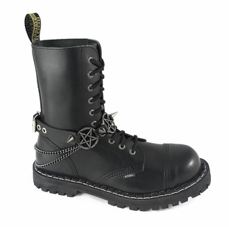 Collier ou harnais pour chaussures Triple Chain Pentagram Boot strap, Leather & Steel Fashion