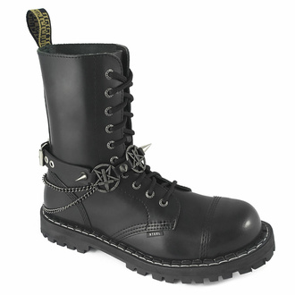 Collier ou harnais pour chaussure Triple Chain Inversed cross Boot strap, Leather & Steel Fashion
