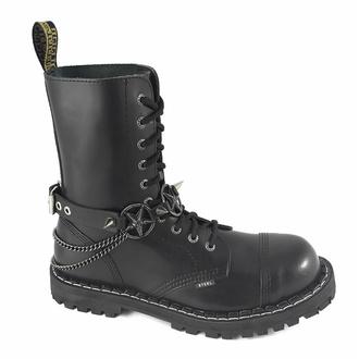 Collier ou harnais pour chaussures Triple Chain Baphomet Boot Strap, Leather & Steel Fashion