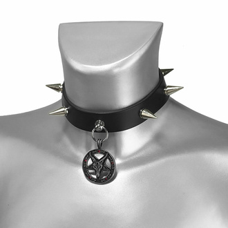 Collier BAPHOMET ROUGE CRYSTAL SPIKE CUIR CHOKER, Leather & Steel Fashion