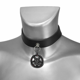 Collier BAPHOMET ROUGE CRYSTAL CUIR CHOKER, Leather & Steel Fashion