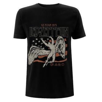 T-shirt pour hommes Led Zeppelin - US 1975 Tour Flag - Noir, NNM, Led Zeppelin