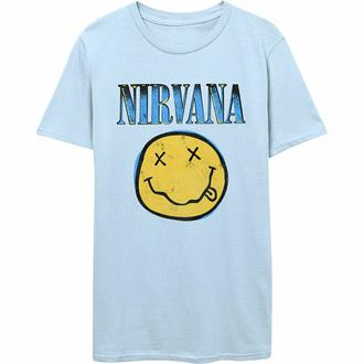 T-shirt pour homme Nirvana - Xerox Smiley - BLEU - ROCK OFF, ROCK OFF, Nirvana