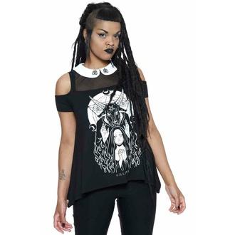 T-shirt pour femmes KILLSTAR - Nunsense Collar Cold Shoulder Top - Noir, KILLSTAR