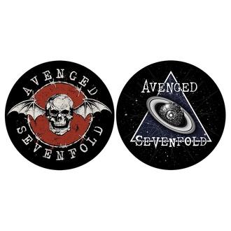 Feutrine pour platine (ensemble 2pcs) AVENGED SEVENFOLD - SKULL / SPACE - RAZAMATAZ, RAZAMATAZ, Avenged Sevenfold