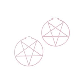 Boucle d'oreille KILLSTAR - Pentagram HOOP - Pastel Pink, KILLSTAR