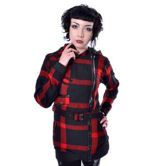 Manteau pour femmes POIZEN INDUSTRIES - TILLY - CARREAUX NOIR / ROUGE , POIZEN INDUSTRIES