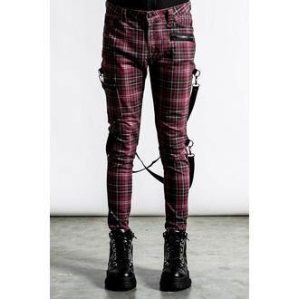 Pantalon pour hommes KILLSTAR - Sonic Doom jeans - Tartan rouge sang, KILLSTAR