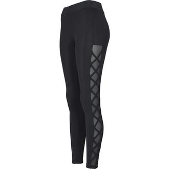 Pantalon pour femme (leggings) URBAN CLASSICS - Mailles et ruban - noir, URBAN CLASSICS