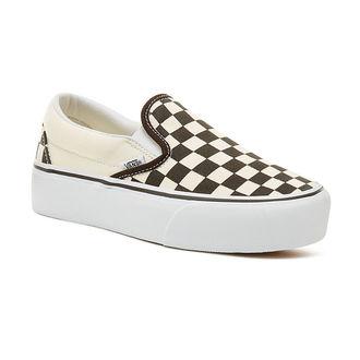 chaussures de tennis basses pour femmes - UA CLASSIC SLIP-ON P Blk WhtCh - VANS, VANS