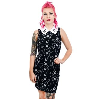 Robe femmes TOO FAST - SATANIC GOAT HEAD & PENTAGRAM WEDNESDAY ADDAMS COL LAR, TOO FAST