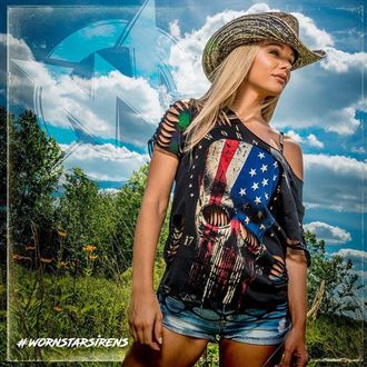 Chapeau WORNSTAR - Hellrider Black & Natural Rocker Cowboy, WORNSTAR