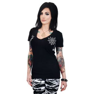 tee-shirt gothic et punk pour femmes - HEART SPIDER WEBS - TOO FAST, TOO FAST