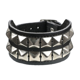 Bracelet pyramides 2 - vegan, BLACK & METAL