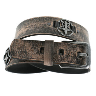 Ceinture Pentagram Cross - brown, Leather & Steel Fashion