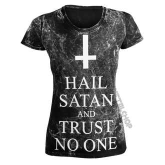 t-shirt hardcore pour femmes - HAIL SATAN AND TRUST NO ONE - AMENOMEN - OMEN095DA ALLPRINT WHITE