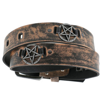 Ceinture Pentacle - brown, Leather & Steel Fashion