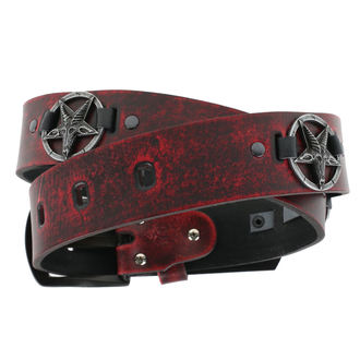 Ceinture Baphomet - red, Leather & Steel Fashion