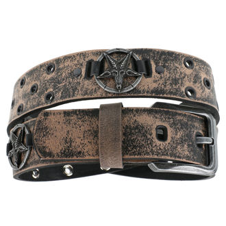 Ceinture Baphomet - brown, Leather & Steel Fashion