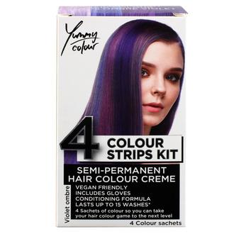 Couleurs de cheveux STAR GAZER - Yummy Colour 4 Color Strips Kit - Viole, STAR GAZER
