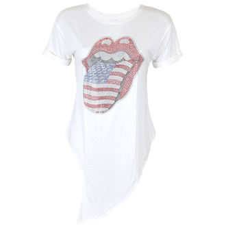 tee-shirt métal pour femmes Rolling Stones - RS USA BLING TONGUE WHITE - PLASTIC HEAD, PLASTIC HEAD, Rolling Stones