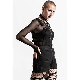 Shorts pour femmes KILLSTAR - Damaged Goods Overalls - Noir, KILLSTAR