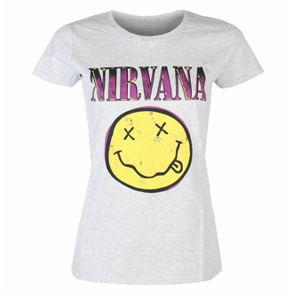 t-shirt pour femmes Nirvana - Smiley Xerox Pink HEATHER - ROCK OFF, ROCK OFF, Nirvana
