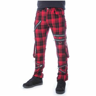 Pantalon pour hommes CHEMICAL BLACK - ETIENNE - TARTAN ROUGE, CHEMICAL BLACK