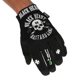 Gants BLACK HEART - BASTARD SKULL - NOIR, BLACK HEART