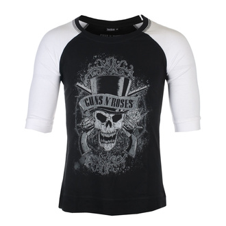 T-shirt unisexe à manches 3/4 Guns N' Roses - Faded Skull - BL / WHT Raglan - ROCK OFF, ROCK OFF, Guns N' Roses