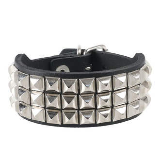 Bracelet pyramides 3, Leather & Steel Fashion