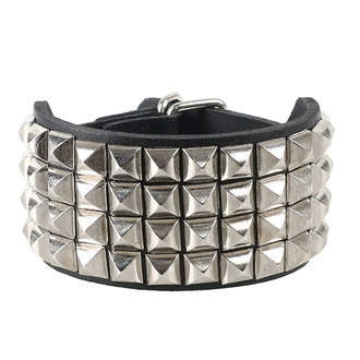 Bracelet pyramides 4, Leather & Steel Fashion