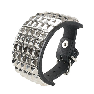 Bracelet pyramides 5, Leather & Steel Fashion