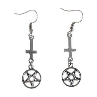 Boucles d'oreilles Luciferothica - Inverted cross Pentagram, LUCIFEROTHICA