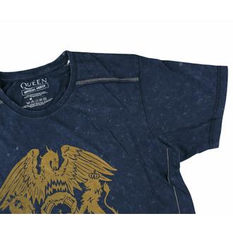 T-shirt pour homme Queen - Classic Crest Snow Wash - NAVY - ROCK OFF, ROCK OFF, Queen