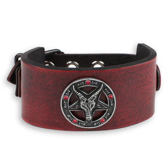 Bracelet Baphomet - red - cristal red, JM LEATHER