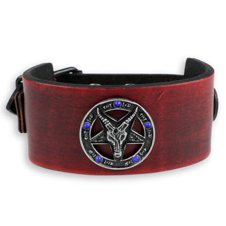 Bracelet Baphomet - red - cristal bleu, JM LEATHER