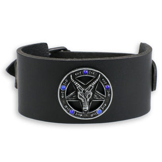 Bracelet Baphomet - black - cristal bleu, JM LEATHER