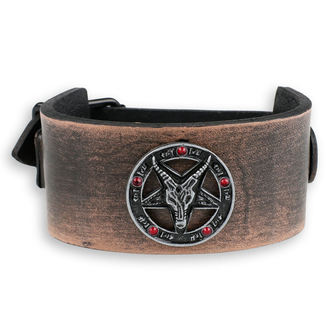 Bracelet Baphomet - brown - cristal rouge, JM LEATHER