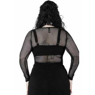 T-shirt à manches longues pour femmes KILLSTAR - Overkill Fishnet - NOIR, KILLSTAR