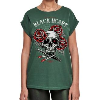 T-shirt pour femmes BLACK HEART - LIPSTICK SKULL EXT - VERT, BLACK HEART