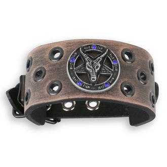 Bracelet Baphomet - brown - cristal bleu, JM LEATHER