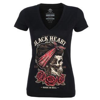 tee-shirt street pour femmes - PIN UP SKULL V - BLACK HEART, BLACK HEART