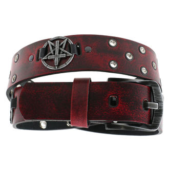 Ceinture Pentagram Cross - red, Leather & Steel Fashion