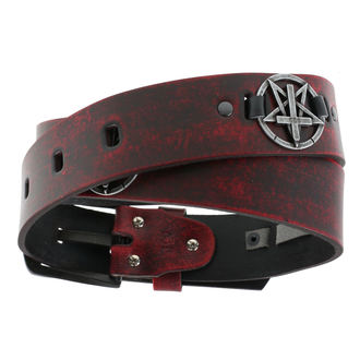 Ceinture Pentagram Cross - red, JM LEATHER
