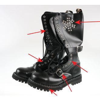bottes en cuir pour hommes - 20 dírkové Rivets Black - STEEL, STEEL