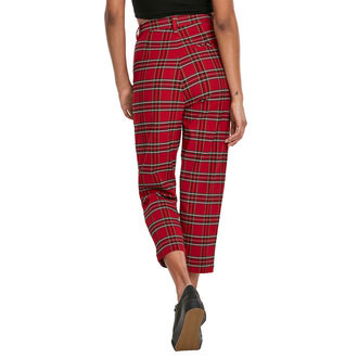 Pantalon pour femmes URBAN CLASSICS - High Waist Checker Cropped - rouge / noir, URBAN CLASSICS