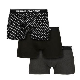boxer pour hommes URBAN CLASSICS - 3-Pack - branding AOP / black, URBAN CLASSICS
