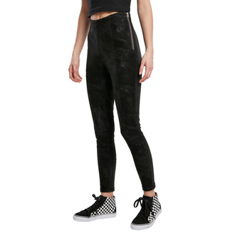 Pantalon pour femmes URBAN CLASSICS - Washed Faux Leather Pants - noir, URBAN CLASSICS