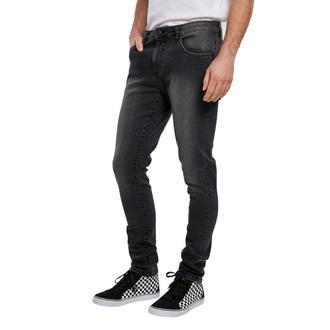 Pantalon pour hommes URBAN CLASSICS - Slim Fit Zip Jeans - real noir lavé, URBAN CLASSICS